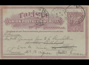 Uruguay 1903: post card Montevideo to Rouen