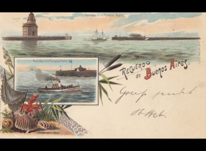 Uruguay 1899: Montevideo post card from Buenos Aires to Erfurt