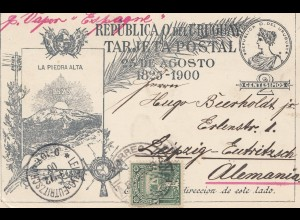 Uruguay 1900: post card par Vapor Espagne to Leipzig-Eutrizsch