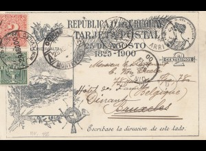 Uruguay 1900: post card Montevideo to Brussels /Belgium