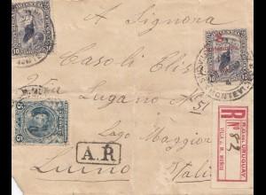 Uruguay 1910: registered Villa J. M. Mundos/Montevideo to Luino/Italy