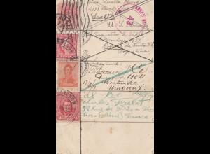 Uruguay 1919: post card Paris, Argentina, Montevideo, Seattle