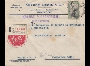 Uruguay 1921: registered Montevideo Krause & Granotich to Berlin