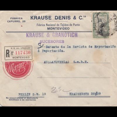 Uruguay 1921: registered Montevideo Krause & Granotich to Berlin