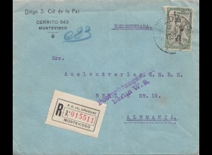 Uruguay 1921: registered Montevideo to Berlin, Postprüfungsstelle Berlin W8
