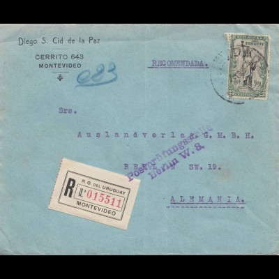 Uruguay 1921: registered Montevideo to Berlin, Postprüfungsstelle Berlin W8