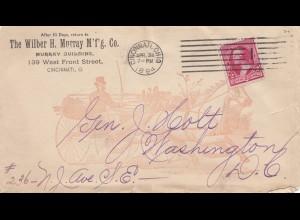 USA 1894: Cincinnati, Ohio to Washington, Murray Building, horse drawn carriage