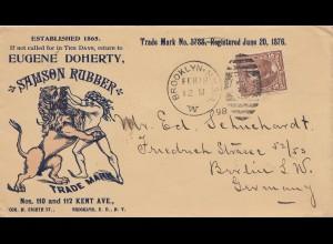 USA 1898: Brooklyn, N.Y. to Berlin, Samson Rubber, Lion