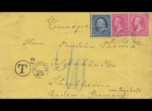 USA 1888: letter to Schopfheiim, Tax