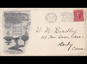 1903 Florists Wire Designs New York to Derby Conn. incl. bill and response cover
