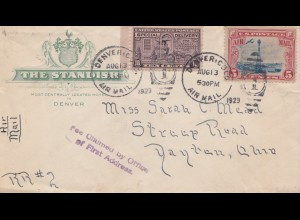 USA 1929: Nenver, Col, air mail to Dayton, Ohioa, Fee claimed by Office