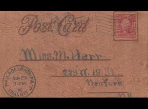 USA 1905: post card leather !!! Philadelphia to New York, Roosevelt Toast