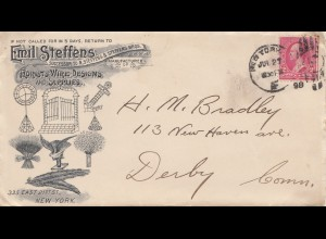 USA 1898: New York Florists Wire Design to Deby, Conn - incl. bill
