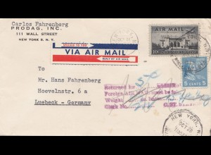 USA 1952: air mail New York to Lübeck, Returned for 5c additional
