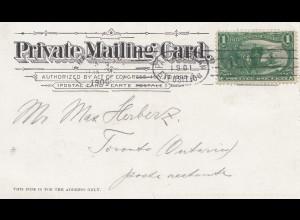 USA 1900: post card Buffalo, Pan American to Toronto/Ontario
