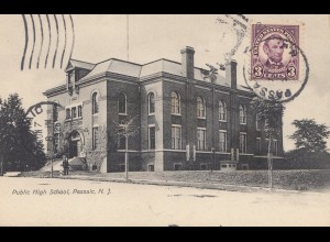 USA 1926: post card Public High School, Passaio/Garfield/New Jersey to Offenbach