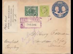 USA 1920: registered Philadelphia to Landau/Germany