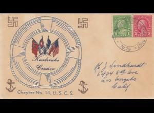 USA 1935: Deutsche Marineschiffpost, Cruiser Karlsruhe to Los Angeles, Swastika