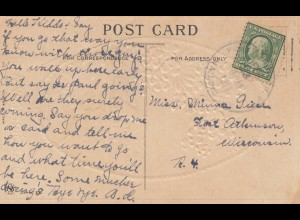 USA 1911: Birthday card to Arkansas, Wisc.