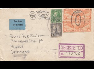 USA 1937: registered Portland, Oregon to München, zollamtlich geöffnet, customs
