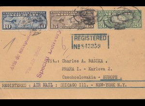 USA 1927: Chicago to Prag, Cz, registered air mail, special delivery