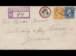 USA 1922: registered Sheldom to Quedlinbug/Emmerich/Germany