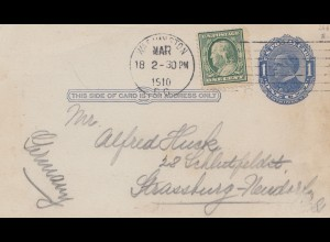 USA 1910: Washington to Strassburg: Text, I saw first time this post card ...
