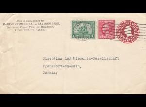USA 1921: Long Beach, Calif Marine Bank to Franfurt/M, Germany