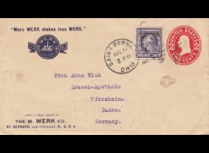USA 1915: Saint Bernard, Cincinnati, O. to Pforzheim/Germany, Soap Powder