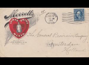 USA 1915: Ottumwa/Iowa Meats to Amsterdam, Holland