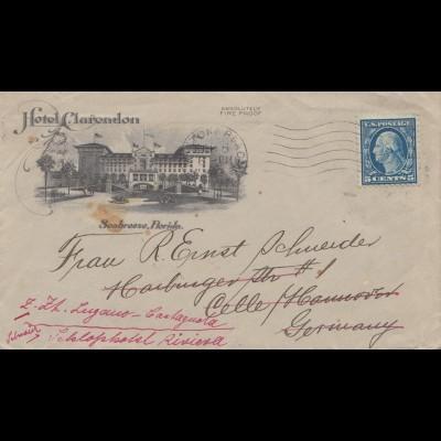 1923: Hotel Clarentlon, Seabreeze, Daytona, Florida to Hamburg, frw. Switzerland