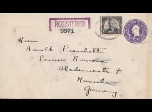 USA 1936: registered Brooklyn to München, Zollamtlich geöffnet
