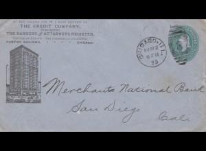 USA 1893: The Credit Company, Pontiac Building, Chicago to San Diego, Cali