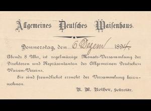 USA 1894: post card Allgemeines Deutsches Waisenhaus Baltimore