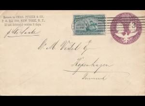 USA 1894 New York to Kopenhagen/Denmark