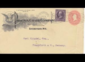 USA 1902: Phoenix Chair Sheboygan, Wis, to Frankfurt/Germany