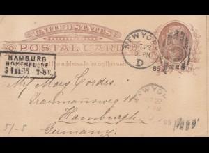 USA 1895: post card New York to Hamburg