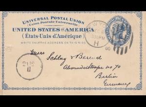 USA 1880: post card New York to Berlin