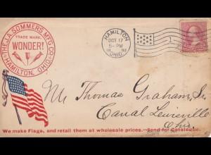 USA 1898: Hamilton, Ohio to Canal Lewisville, Flag producer, Old Glory, ship