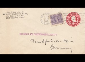 USA 1921: Bridgeport, Conn, to Frankfurt Germany