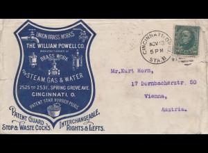 USA 1897: Cincinnati, Ohio to Vienna, Austria, Brass works, Steam Gas, Water