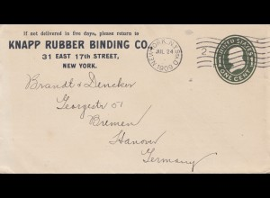 USA 1909: New York to Hannover/Germany, Rubber