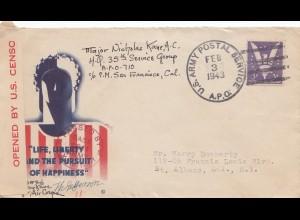 USA 1943: San Francisco Cal. to St. Albans, N.Y., Censor, War Slogan
