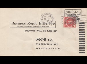 USA 1937: Los Angeles, Calif. Business Reply Envelope