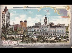 USA 1902: post card New York Brooklyn City Hall to Leipzig/Germany