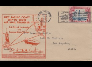 USA 1931 San Pedro Cal to Los Angeles First Pacific Coast Ship-to-shore air mail