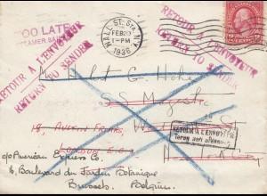 USA 1936: Mall St. Station, N.Y. to Burssels/Belgium, Return to Sender,