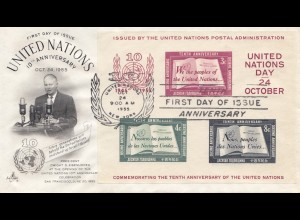 USA 1955: United Nations New York, FDC