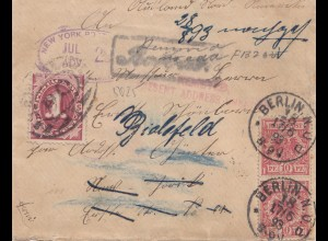 Germany Berlin, 1893 to New York, Tax, forwarded and back to Germany/Bielefeld
