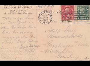 USA: 1929: post card Brau-Haus, New York to Esslingen